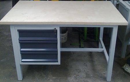 77156961 Stół warsztatowy mocny, 3 szuflady (wymiary: 1600x900x1000 mm)