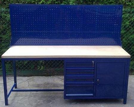 77156964 Stół warsztatowy z nadbudową perforową, 4 szuflady, 1 szafka (wymiary: 2000x600x900 mm)