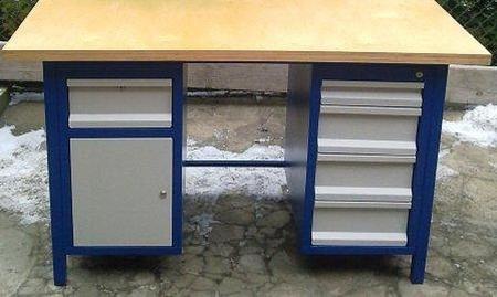 77156970 Stół warsztatowy, 5 szuflad, 1 szafka (wymiary: 1500x750x850 mm)