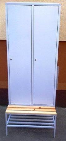 77157030 Szafa odzieżowa z przegrodami i ławką, 2 drzwi (wymiary: 2000/1900x800x480 mm)