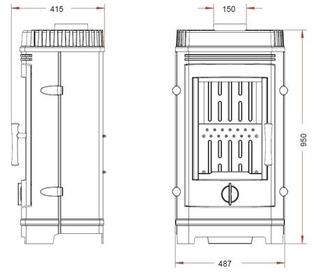 86854943 Piec wolnostojący Invicta 10kW Cassine (górna średnica wylotu spalin: 150mm, kolor: antracyt)