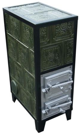 92238183 Piec grzewczy kaflowy 9,5kW Retro czterowarstwowy na drewno i węgiel (kolor: brąz)