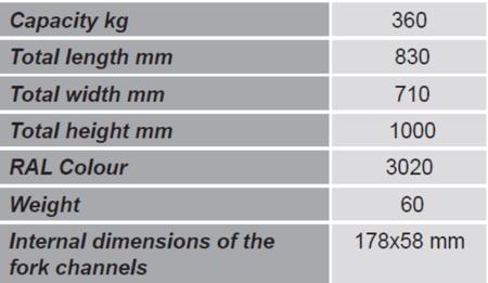 99724857 Uchwyt do beczek na wózek widłowy GermanTech DG360A (udźwig: 360 kg)