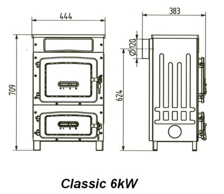 DOSTAWA GRATIS! 12530146 Piec wolnostojący Wamsler 6kW Kamino 6 Classic  na drewno i węgiel (bez szyby)