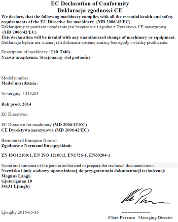 DOSTAWA GRATIS! 31046316 Stacjonarny stół podnośny  (wymiary platformy: 1700x1000mm, udźwig: 800 kg)