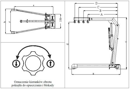 DOSTAWA GRATIS! 6177826 Żuraw hydrauliczny ręczny (udźwig: od 375 do 750kg)