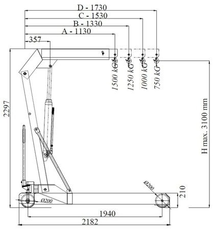 DOSTAWA GRATIS! 6177833 Żuraw hydrauliczny ręczny (udźwig: od 750 do 1500kg)