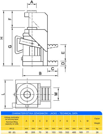 DOSTAWA GRATIS! 62725743 Podnośnik z bocznym podnoszeniem (udźwig: 6T)