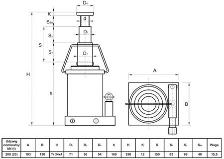 DOSTAWA GRATIS! 6276342 Podnośnik hydrauliczny teleskopowy - niski (wysokość podnoszenia min/max: 160/350mm, udźwig: 20T)