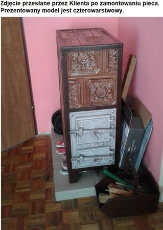 DOSTAWA GRATIS! 92238180 Piec grzewczy kaflowy 7,8kW Retro trzywarstwowy na drewno i węgiel (kolor: brąz, wysokość: 76cm)
